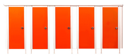 Colorful restroom stall doors isolated on white background photo
