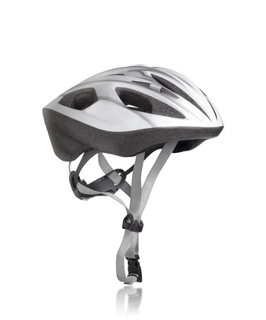 Mountain bike MTB bicycle safety helmet isolated on white background Stock Photo