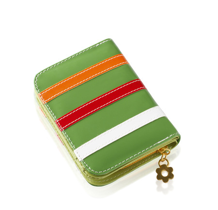 Colorful fashion lady wallet isolated on white background photo