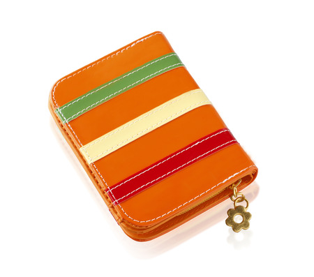 Nice design orange fashion lady wallet isolated on white background photo