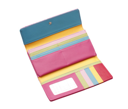 Open colorful woman wallet with card holder slots isolated on white background  photo