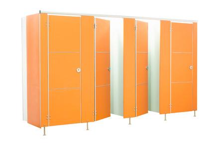 Orange restroom stall doors isolated on white background photo