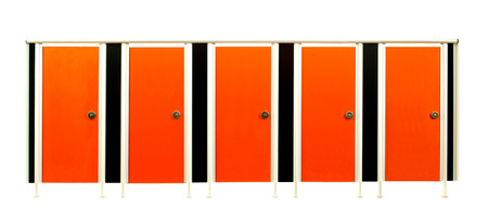 Orange colorful restroom stall doors isolated on white background photo