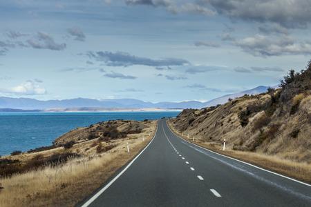 new scenery: Beautiful street scenery along the Southern Moutain Alps Valleys, Hawea Lake, New Zealand