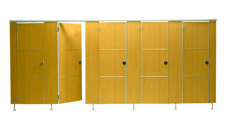 Restroom stall doors isolated on white background photo