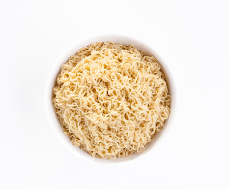 instant noodle: Instant noodle in a white bowl isolated on white background