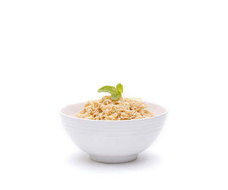 instant noodle: Instant noodle in a bowl isolated on white background