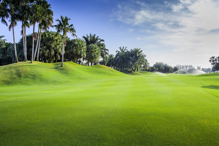 field of thai: Beautiful green golf course fairway in a sunny day, Thailand