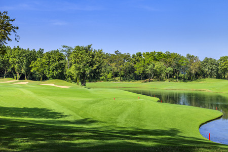 golf field: Green golf course in a sunny day, Thailand