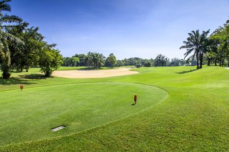 fairway: Green golf course fairway in a sunny day, Thailand Stock Photo