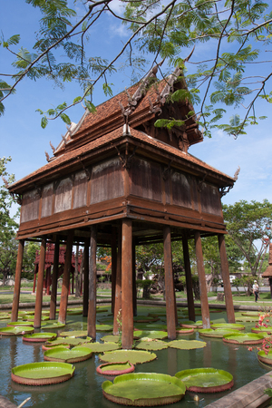 tower house: The Thai gilded house or gilded tower for keep the Tripitaka, built over the pond to protect the ant  white ant or termite or insects to destroy the books of the holy scriptures of Buddha