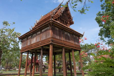 tower house: The Thai gilded house or gilded tower for keep the Tripitaka, built over the pond to protect the ant  white ant or termite or insects to destroy the books of the holy scriptures of Budha