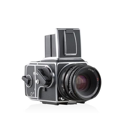 H camera vintage style isolated on white background Stock Photo
