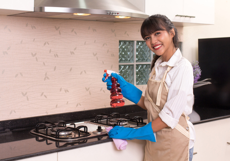 Beautiful young housekeeper cleaning the kitchen