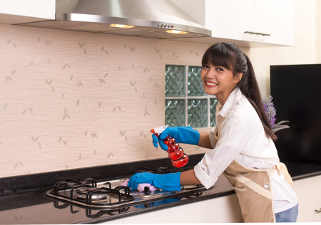 Beautiful housekeeper cleaning the kitchen