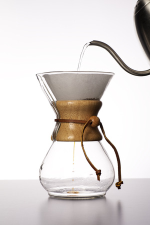 The beginning of the process of making pour over coffee  Stock fotó