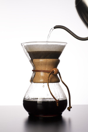 The process of making pour over coffee