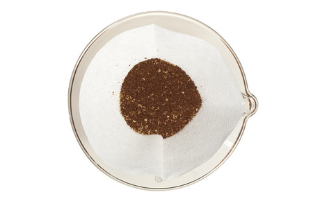 coffee grounds: Gourmet coffee grounds in a pour over setup