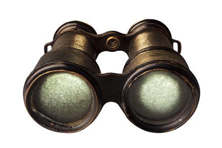 Antique binoculars isolated on white.