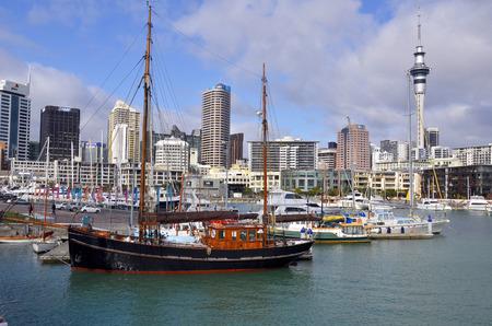 ketch: Classic black ketch, Wynyard Quarter, Viaduct Harbour, Auckland New Zealand Editorial
