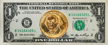 The United States $1 dollar bill with the George Washington dollar coin on the top Stock Photo - 6752097