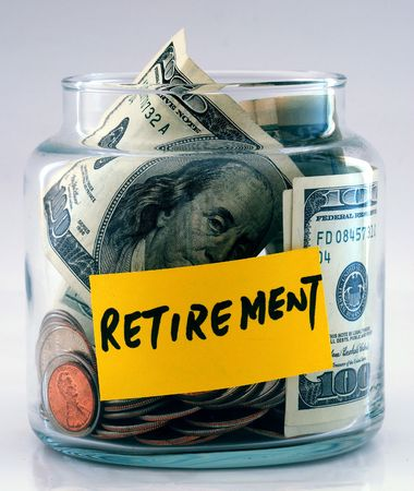 """pension fund: A lot of money in a glass bottle labeled """"Retirement"""""""