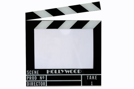 A Hollywood movie clapper board (Clap slate), isolated in white Stock Photo