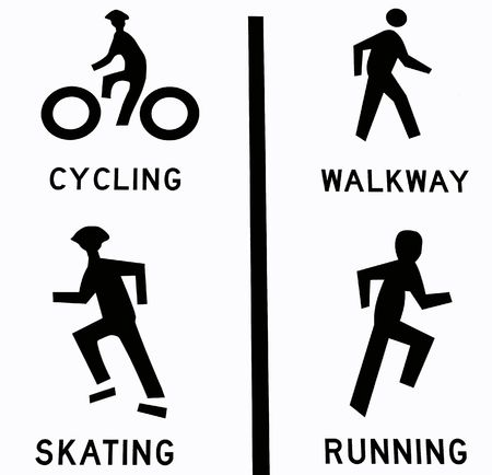 Four sport icons: cycling, walkway, skating, and running.  Isolated in white Stock Photo - 6751975