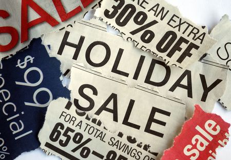 Various holiday on sale signs from the newspapers Stock Photo - 6752095