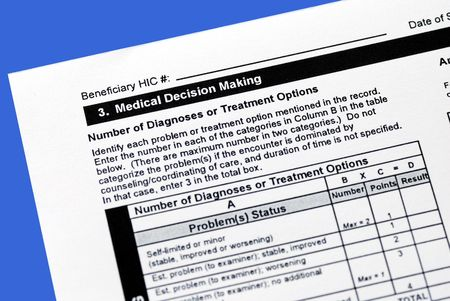 diagnoses: Making a sound medical decision by reviewing the diagnoses and treatment options Stock Photo