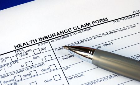 Filling the health insurance claim form isolated in blue