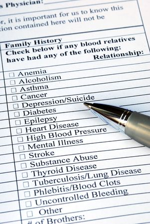 Filling the Family History section in the medical history questionnaire  photo