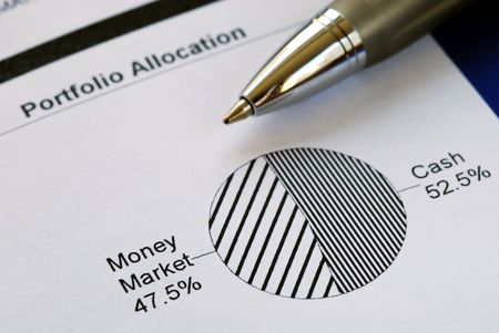 Portfolio allocation illustrates the asset in a pie chart Stock Photo - 6752041