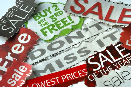 penny pinching: Don�t miss the on sale and free deals Stock Photo
