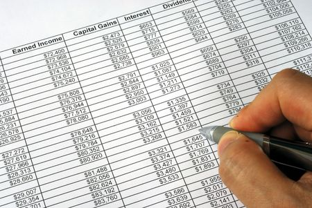 capital gains: Project the future income and capital gains from the spreadsheet Stock Photo