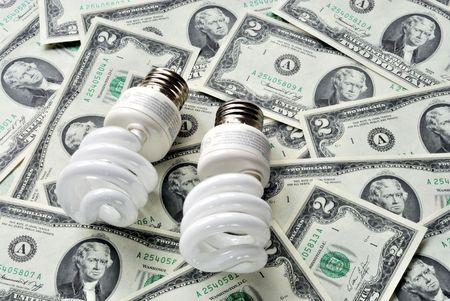 Save money by using energy savings light bulbs Stock Photo - 6752951
