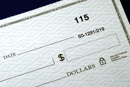 Write the dollar amount on the check isolated on blue