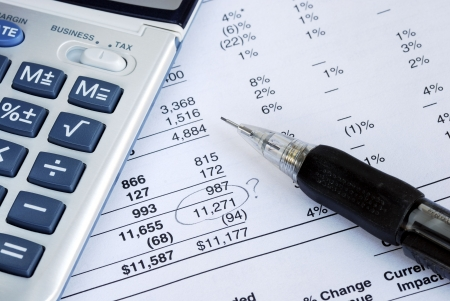 Find a mistake when auditing the financial statement Stock Photo
