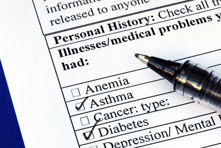 Patient selects the illness in the medical history section isolated on blue Stock Photo - 6752752