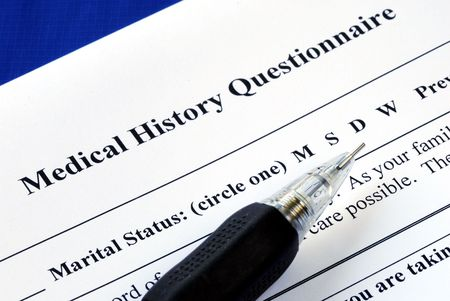 File the medical history questionnaire with a pencil photo