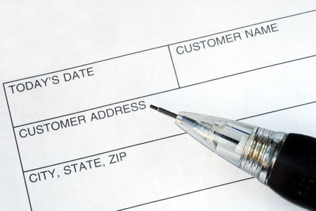 Complete the name and address for the customer Stock Photo - 6752330