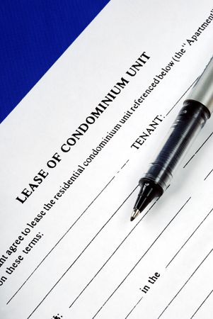 lessee: Lease of condominium unit isolated on blue Stock Photo