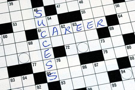 Vul de woorden geslaagd carriere in de kruis woord puzzel  Stockfoto - 6752751