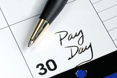 Today is the pay day of the month Stock Photo