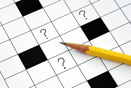 Kruiswoord puzzel met veel vraag tekens concepten hoe het probleem op te lossen  Stockfoto - 6752296