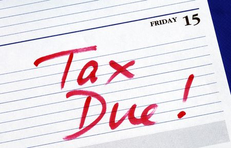 exemption: April 15th is the due date for the income tax returns Stock Photo