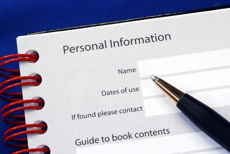 Fill in the personal information isolated on blue Stock Photo - 6752926