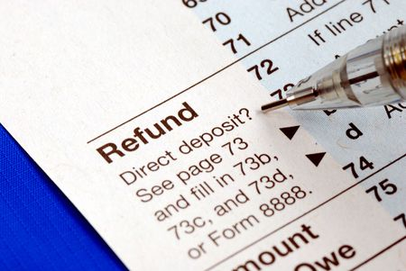 cpa: Getting refund from the income tax return isolated on blue