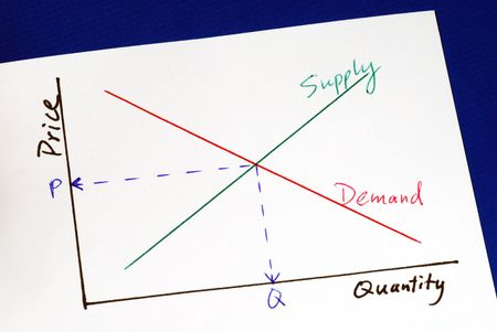Supply and demand curves isolated on blue