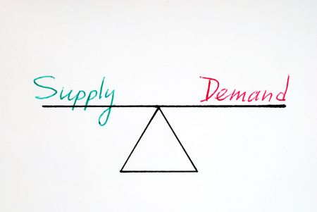 Supply and demand at the equilibrium state Stock Photo - 7001788